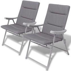 Vidaxl składane krzesła ogrodowe wyściełane, 2 szt., szare