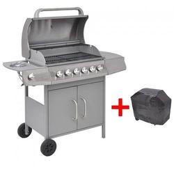 Vida Grill gazowy ze strefą gotowania 6+1, kolor srebrny