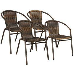 Krzesła ogrodowe 4 szt. metalowe brązowe plecione krzesło na balkon zestaw mix