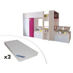 Łóżko piętrowe julien – 2 × 90 × 190 cm – szafa – kolor biały i fuksja + 2 materace zeus 90x190 marki Vente-unique