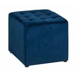 Niebieska kwadratowa pufa glamour - Drip, kolor niebieski