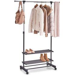 Mobilna i praktyczna szafa na ubrania i buty, do biura lub domu, drążek na ubrania, 4 kółka, 2 półki na buty, marki marki Zeller