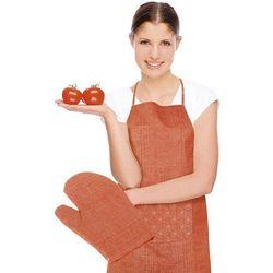 Bellatex Fartuch z rękawicą kuchenną rita kwiat pomarańczowy