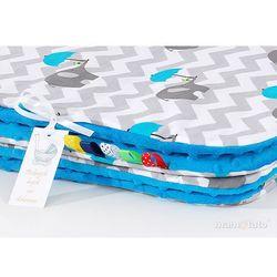 komplet kocyk minky do wózka + poduszka słoń zygzak niebieski / niebieski marki Mamo-tato