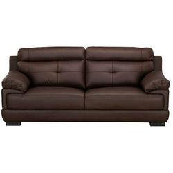 Sofa 3-osobowa ze 100% skóry bawolej MANUELLA - Czekoladowy, kolor brązowy