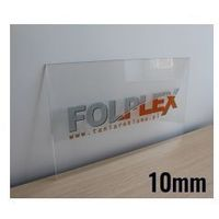 Druk uv na plexi bezbarwnej 10mm z materiałem marki Folplex