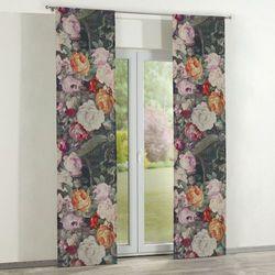 zasłony panelowe 2 szt., wielobarwne kwiaty na ciemnym tle, 60 × 260 cm, linen marki Dekoria