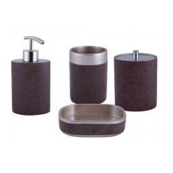 AWD INTERIOR Komplet łazienkowy VERN - skóra - dozownik, kubek, pojemnik kosmetyczny, mydelniczka
