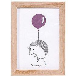 Obrazek w ramce, jeżyk z balonikiem, róż - Bloomingville (5711173154425)