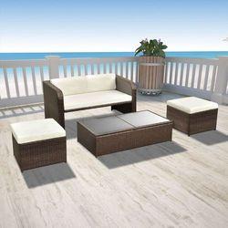 vidaXL Zestaw jadalniany ogrodowy z sofą, rattanowy, brązowy, 9 szt. (8718475961093)