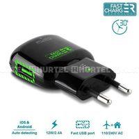 Puro  mini travel fast charger - ładowarka sieciowa usb 2.4a (czarny) - czarny