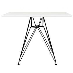 Stół DSR SQUARE BLACK 100x100 - biały MDF, podstawa metalowa czarna (5900168808508)