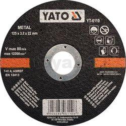 Tarcza do cięcia metalu 125x3.2x22 mm / YT-6110 / YATO - ZYSKAJ RABAT 30 ZŁ