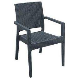 Krzesło ogrodowe z podłokietnikami z technorattanu Ibiza Siesta antracytowe, kup u jednego z partnerów