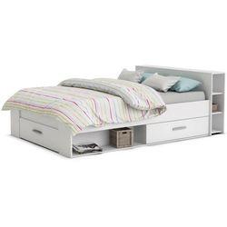 Łóżko leonis ze schowkami i szufladami - 140x190 cm - biały marki Vente-unique
