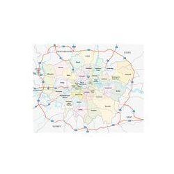 Foto naklejka samoprzylepna 100 x 100 cm - Londyn drogi i mapa administracyjna ze sklepu FOTAKO