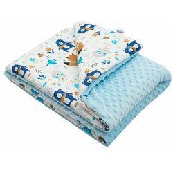 New Baby Fotelik dziecięcy z Minky Misie niebieski, 80 x 102 cm, 233091
