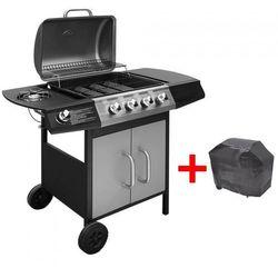 Grill gazowy ze strefą gotowania 4+1, kolor czarno-srebrny marki Vida