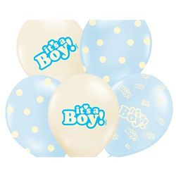 Balony pastelowe It's a Boy - 30 cm - 5 szt.