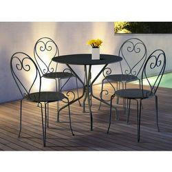 Vente-unique Jadalnia ogrodowa z kutego żelaza guermantes: stół i 4 krzesła w kolorze antracytowym