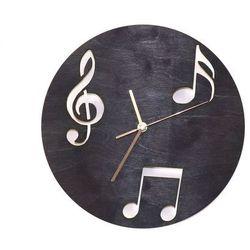 Drewniany zegar na ścianę Nuty ze złotymi wskazówkami