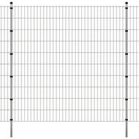 vidaXL Panele ogrodzeniowe 2D z słupkami - 2008x2030 mm 28 m Srebrne (8718475985198)