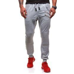 Szare spodnie dresowe baggy męskie Denley 0476 - SZARY, spodnie męskie ATHLETIC
