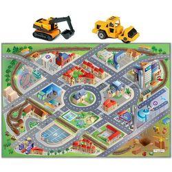 House of kids Dywan mata miasto ulice drogi efekt 3d 100x150 cm + 2 pojazdy