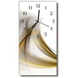 Zegar szklany pionowy sztuka abstrakcja linie beżowy marki Tulup.pl