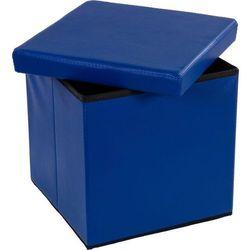 Pufa ze schowkiem składana niebieska, kolor niebieski