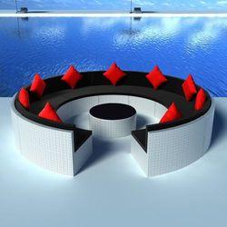 Vidaxl okrągła sofa polirattanowa ze stolikiem, kolor biały
