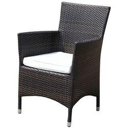 Krzesło ogrodowe rattan ciemnobrązowe poducha biała italy marki Beliani