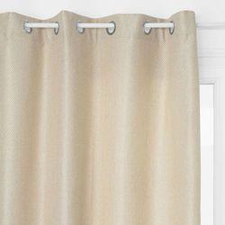 Atmosphera créateur d'intérieur Zasłona okienna, kolor beżowy, metalowe zakończenie otworów na karnisz, materiały: poliester, wiskoza, bawełna, wymiary 260 x 140 cm