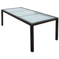 Vidaxl  stół jadalniany ogrodowy, rattan pe 190x90x75 cm brąz (8718475994893)