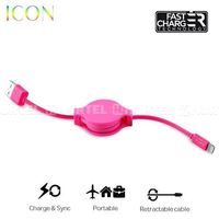 PURO ICON Retractable Cable - Zwijany kabel ligtning MFi (Shock Pink) - Różowy (8033830166129)
