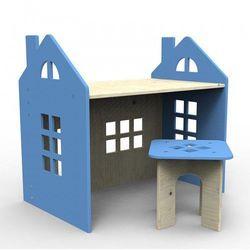 Drewniane biurko niebieskie marki Planeco