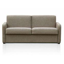 Vente-unique 3-osobowa rozkładana sofa tomaka typu express z tkaniny – kolor beżowy