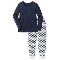 Piżama, bawełna organiczna bonprix naturalny melanż - ciemnoniebieski z nadrukiem, w 7 rozmiarach