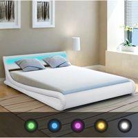 Vidaxl  rama łóżka z oświetleniem led 140x200 cm sztuczna, biała skóra (8718475975267)