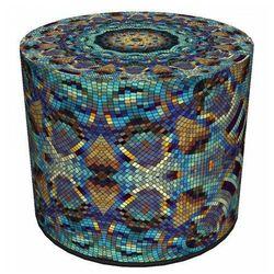 Producent: elior Okrągła tapicerowana pufa ozdobna 4 wzory - adelos 9x