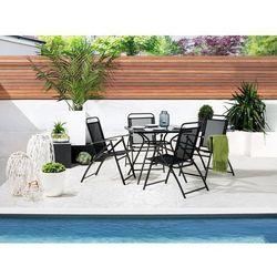 Zestaw do ogrodu 4 krzesła czarne aluminiowe składane LIVO