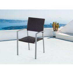 Meble ogrodowe brązowe - krzesło ogrodowe - rattanowe - balkonowe - tarasowe - TORINO - produkt z kategorii-