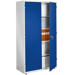 Ekstra pojemna biała szafa biurowa z niebieskimi drzwiami 500x1020x1900mm, towar z kategorii: Szafy i witryny