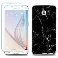 Full Body Slim Fantastic - Samsung Galaxy S6 Edge - etui na telefon Full Body Slim Fantastic - czarny marmur