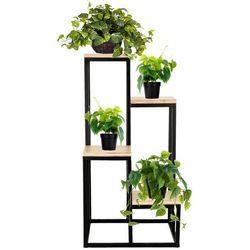 Springos Stojący kwietnik 80 cm stojak z miejscem na 4 doniczki na kwiaty nowoczesny loft czarny mat (5907719418759)