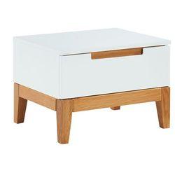 Vente-unique Skandynawski stolik nocny sedna - 1 szuflada - drewno i mdf - kolor biały i naturalny