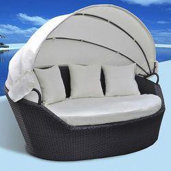 Vidaxl  rattanowy leżak łóżko z baldachimem (8718475817697)