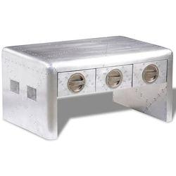 vidaXL Aluminiowy stolik do kawy lotniczy Aviator Vintage z 3 szufladami (8718475944010)