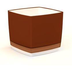Doniczka osłonka plastikowa Cube 150, brązowa,