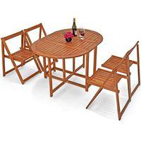 Wideshop Meble drewniane ogrodowe zestaw 1 stół + 4 krzesła (4250525334135)